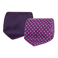 The Collection - Pack of two purple geometrical design tie