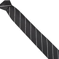 Black Tie - Black slim metallic stripe tie
