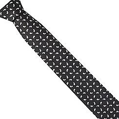 Black Tie - Black slim mini paisley tie