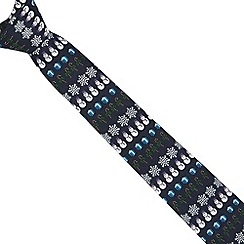 The Collection - Navy snowman pattern tie