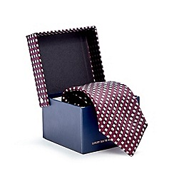Hammond & Co. by Patrick Grant - Dark red silk spotted tie and pocket square set in a gift box