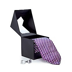 The Collection - Purple geometric tie and cufflinks in a gift box