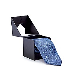The Collection - Blue floral silk tie in a gift box