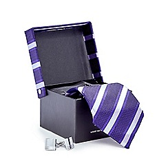 Jeff Banks - Purple striped tie and cufflinks set in a gift box