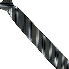 Jeff Banks - Green collegiate striped slim tie