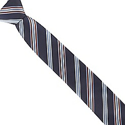Jeff Banks - Navy textured mini floral slim tie