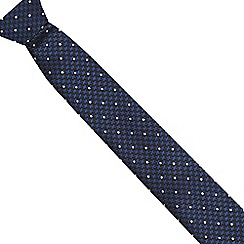 Jeff Banks - Navy dogtooth and spot print slim tie