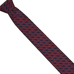 Jeff Banks - Red textured stripe slim tie
