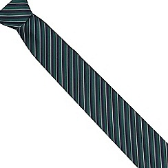 Jeff Banks - Green textured stripe slim tie