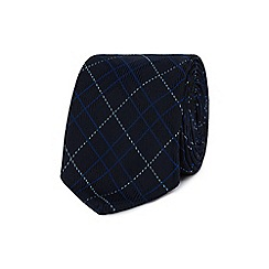 Jeff Banks - Navy tartan print slim tie