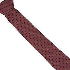 Red Herring - Dark red stitched lines slim tie