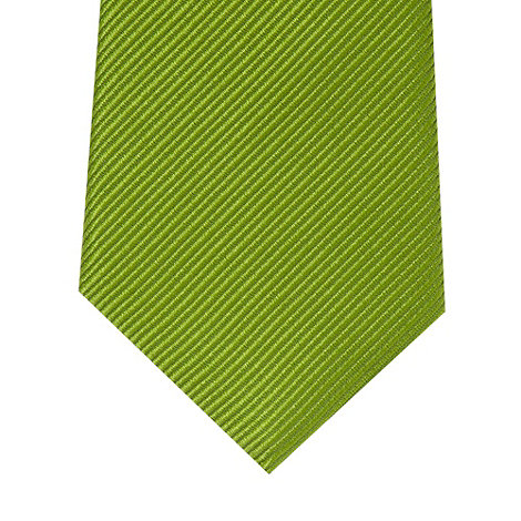 Jeff Banks - Designer green diagonal textured stripe silk tie