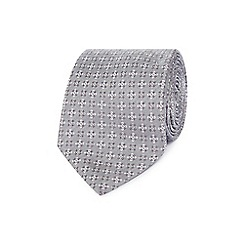 Jeff Banks - Grey geometric medallion silk tie