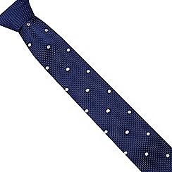 Jeff Banks - Navy spotted knit slim tie