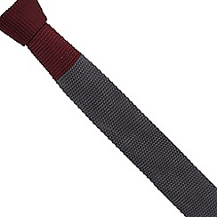 Jeff Banks - Dark red colour block knitted slim tie