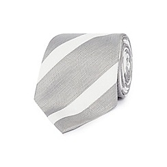 Jeff Banks - Light grey textured stripe silk tie