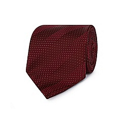J by Jasper Conran - Dark red micro dot striped silk tie