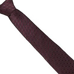 J by Jasper Conran - Dark red geometric striped silk tie