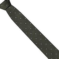 Hammond & Co. by Patrick Grant - Dark green textured polka dot silk tie