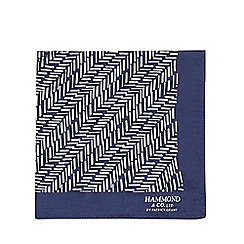 Hammond & Co. by Patrick Grant - Navy herringbone silk pocket square
