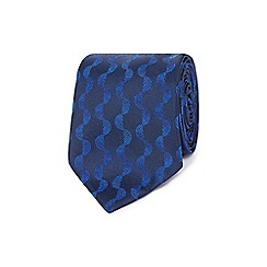 The Collection - Blue semi circular striped slim blade tie