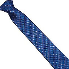 The Collection - Blue geometric striped patterned slim blade tie