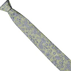 The Collection - Green textured floral print silk tie