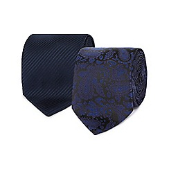 The Collection - Pack of two navy paisley ties