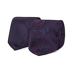 The Collection - Pack of two purple paisley ties