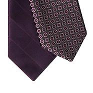 Thomas Nash - Pack of two purple geometric ties