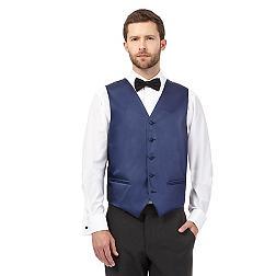 Navy textured line waistcoat
