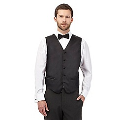 Black Tie - Big and tall black textured line waistcoat