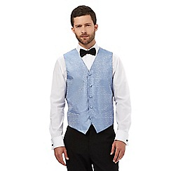 Black Tie - Big and tall light blue jacquard waistcoat