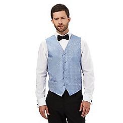 Black Tie - Light blue jacquard waistcoat