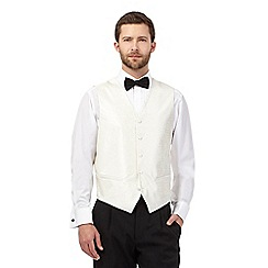 Black Tie - Big and tall ivory jacquard waistcoat