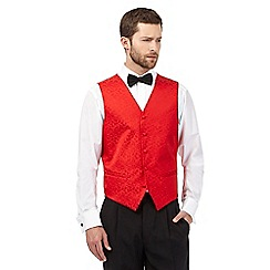 Black Tie - Big and tall red jacquard waistcoat