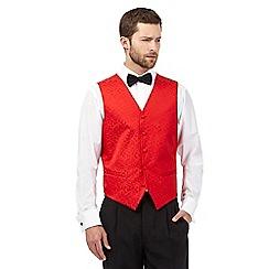 Black Tie - Red jacquard waistcoat