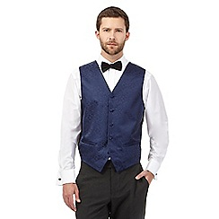 Black Tie - Big and tall navy jacquard waistcoat