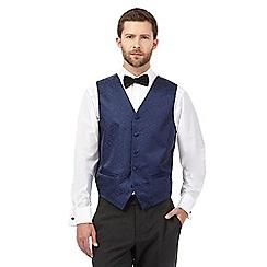Black Tie - Navy jacquard waistcoat