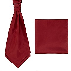 Black Tie - Dark red pocket square and cravat set