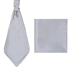 Black Tie - Silver pocket square and cravat set