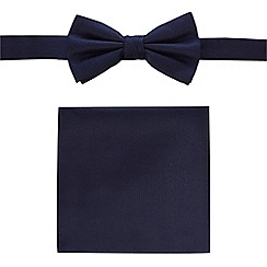 Black Tie - Navy bow tie and pocket set