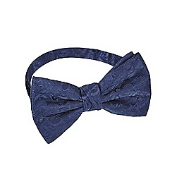 Black Tie - Navy embroidered ready tied bow tie