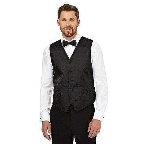 Black Tie - Black damask fleur waistcoat