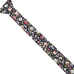 Red Herring - Navy floral print slim tie