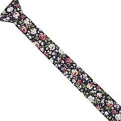 Red Herring - Navy floral print slim tie