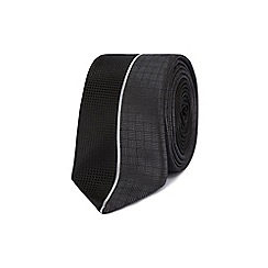Red Herring - Black and grey textured skinny tie