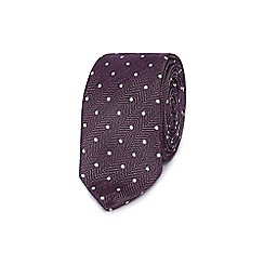 Red Herring - Purple spotted skinny tie