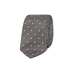 Red Herring - Grey spotted skinny tie