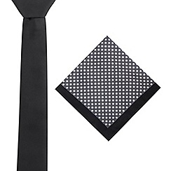 Red Herring - Black skinny tie and floral pocket square set